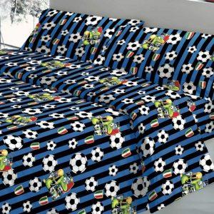 Parure Copripiumino 100% puro cotone mod. Squadre Calcio Nero Blu