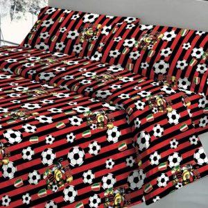 Parure Copripiumino 100% puro cotone mod. Squadre Calcio Rosso Nero