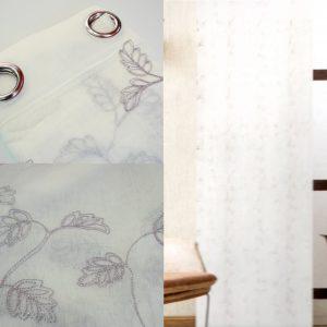 Coppia Tende Tendaggio con Occhielli Bianca Ricami MOD. 2LOC1BELGE