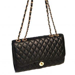 Borsa a spalla, elegante clutch moda con catena dorata mod.61306 Nero