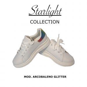Scarpe Sneakers Donna MOD.7091yb Queen Plateau Basso Arcobaleno Glitter