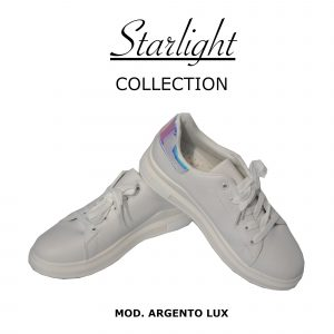 Scarpe Sneakers Donna MOD.7091yb Queen Plateau Basso Argento