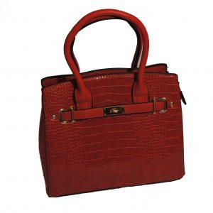 Borsa a mano con tracolla elegante motivo Coccodrillo mod.13886d Rosso