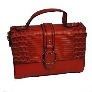 Borsa a mano con tracolla elegante motivo Coccodrillo mod.501ne Nero Rosso