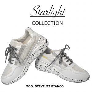 Scarpe Sneakers Donna MOD.2m Bianco Steve Plateau Alto 6 cm Glitter