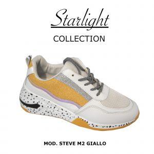 Scarpe Sneakers Donna MOD.2m Giallo Steve Plateau Alto 6 cm Glitter