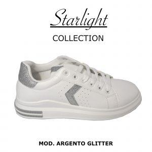 Scarpe Sneakers Donna MOD.5m Argento Silver Queen Plateau Basso Glitter
