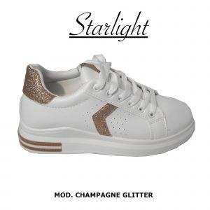 Scarpe Sneakers Donna MOD.5m Oro Queen Plateau Basso