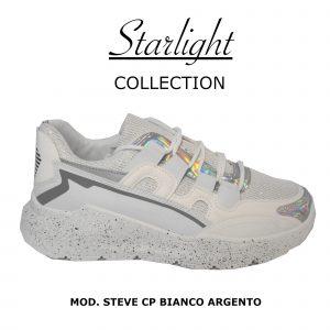 Scarpe Sneakers Donna MOD.31cp Bianco Argento Steve Plateau Alto 6 cm Glitter