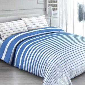 Completo Lenzuola per letto 100% puro Cotone made in Italy Righe Bianco e Blu