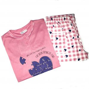 Pigiama Maglia e Pantalone Gatto Miao Dolci Coccole Rosa