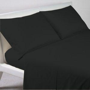 Lenzuolo sopra cordonetto 100% Puro Cotone Color Nero