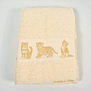 Salvietta e Ospite, asciugamani in spugna 100% Gattini Beige made in Italy