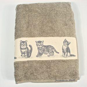 Telo bagno, asciugamano mis. 100x140 in spugna 100% Gattini Beige made in Italy