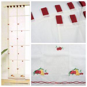 Tende coppia di tende per finestra portafinestra in velo leggero rosso mod. M2ANRIV