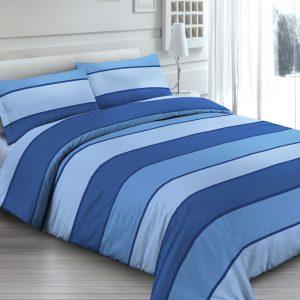 Completo Lenzuola per letto 100% puro Cotone made in Italy Fascia Blu