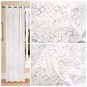 Coppia Tende Tendaggio con Occhielli Tessuto bianco grigio MOD. 1LOC21BAROBED