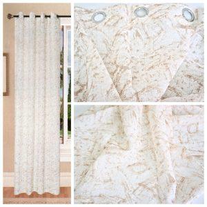 Coppia Tende Tendaggio con Occhielli Tessuto bianco beige MOD. 2LOC21BAROBED