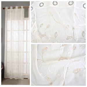 Coppia Tende Tendaggio con Occhielli Tessuto ricamato floreale beige MOD. 2LOC3HEUS
