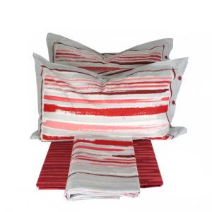 Completo Lenzuola per letto 100% puro Cotone made in Italy Pennellate Rosse