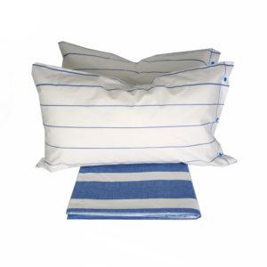 Parure Copripiumino 100% puro cotone mod. Rigato Bianco Blu